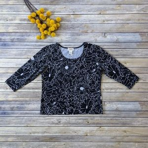 Talbots Black and White Floral Shirt